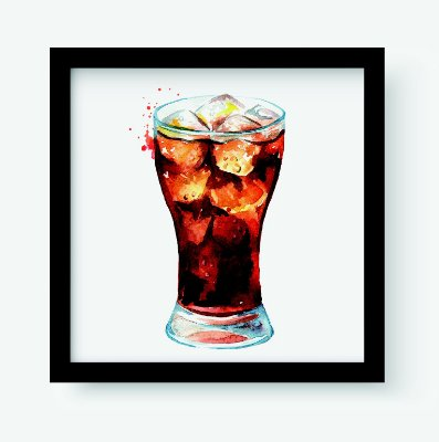 Quadro Decorativo Gourmet Drink Cola In Glass With Ice Cubes