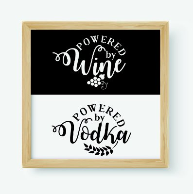 Quadro Decorativo Gourmet Powered By Wine & Powered By Vodka