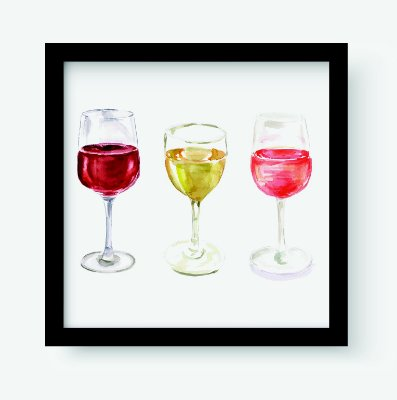 Quadro Decorativo Gourmet Wines Glasses