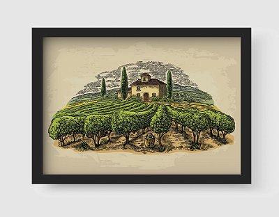 Quadro Decorativo Rural Landscape With Villa, Vineyard Fields And Hills