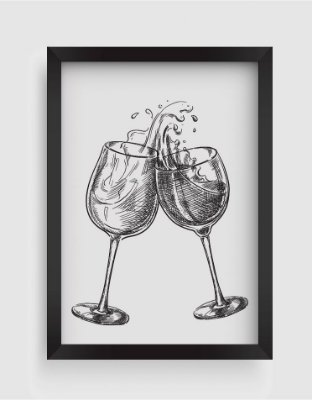 Quadro Decorativo Gourmet Two Wine Glasses With Splash Drinks