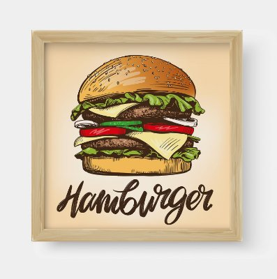 Quadro Decorativo Gourmet Big Burger, Hamburger Illustration