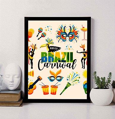 """Quadro Decorativo """"Hello Brazil Carnival"""""""