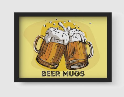 Quadro Decorativo Gourmet Vintage Beer Mugs