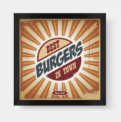 Quadro Decorativo Gourmet Vintage Best Burgers In Town
