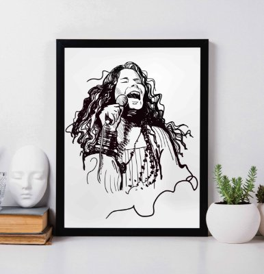 Quadro Decorativo Janis Joplin Singing Draw Art.