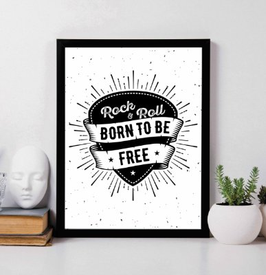 "Quadro Decorativo ""Rock 'N' Roll Born to be free"""