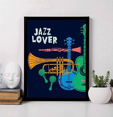 """Quadro Decorativo """"Jazz Lover"""" Instrumentos musicais"""