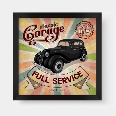 Quadro Decorativo Vintage Classic Garage Full Service