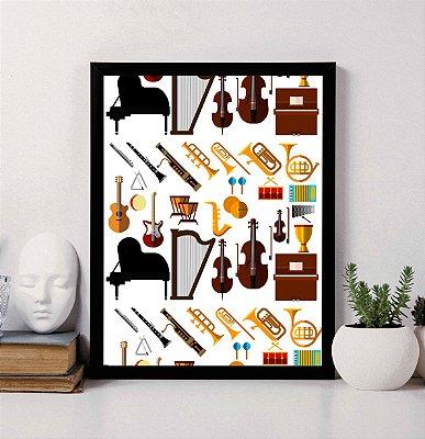 Quadro Decorativo Musical - Instrumentos Musicais.