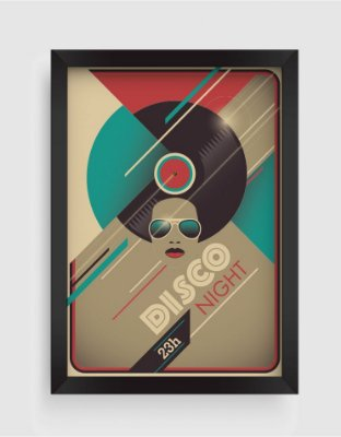 Quadro Decorativo Musical Retro Vintage Disco Night