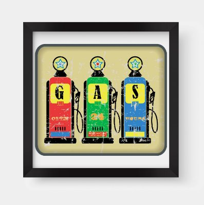 Quadro Decorativo Retro Vintage Classic Gas Station Fuel Pump