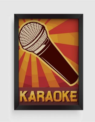 Quadro Decorativo Musical Vintage Karaoke