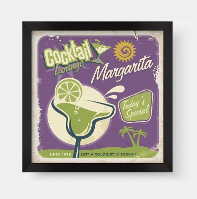 Quadro Decorativo Gourmet Vintage Lemon Cocktail Lounge Margarite
