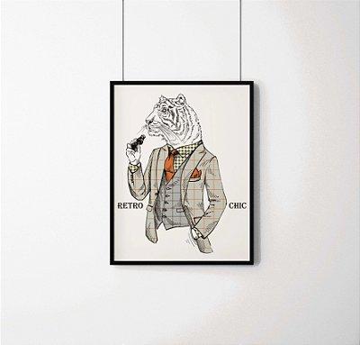 Quadro Decorativo Animais- Retro Chic Tiger