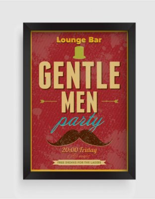 Quadro Decorativo Vintage Lounge Bar Gentle Men Party