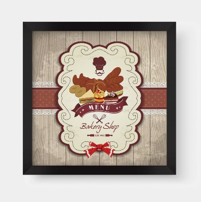 Quadro Decorativo Gourmet Vintage Menu Bakery Shop