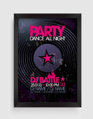 Quadro Decorativo Musical Vintage Party Dance All Night Dj Battle