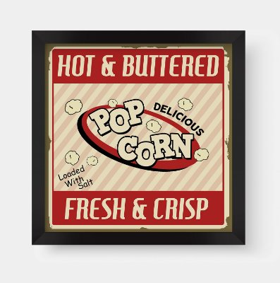 Quadro Decorativo Gourmet Vintage Hot & Buttered Pop Corn