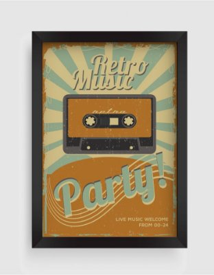 Quadro Decorativo Musical Vintage Retro Music Party