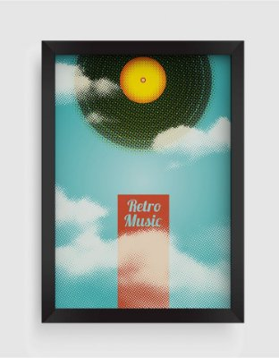 Quadro Decorativo Musical Vintage Vinyl Retro Music