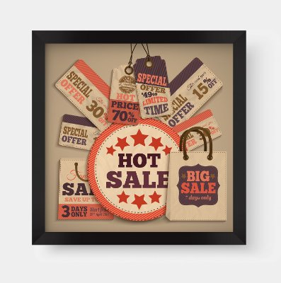 "Quadro Decorativo Vintage Sale Tags ""Hot Sale"" ""Big Sale"" ""Offer"""