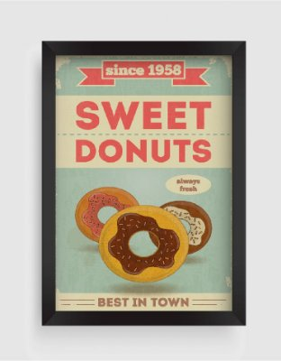 Quadro Decorativo Gourmet Vintage Sweet Donuts Best In Town