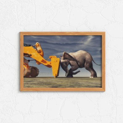 Quadro Decorativo Animais- Machine versus Elephant.