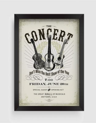 Quadro Decorativo Musical Vintage The Concert Invite