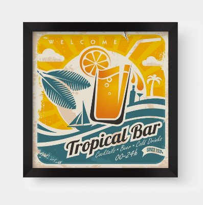 Quadro Decorativo Gourmet Vintage Welcome Tropical Bar Orange Juice