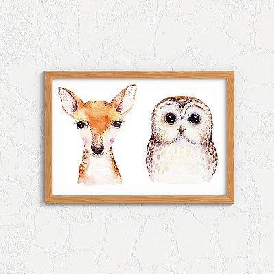 Quadro Decorativo Animais- Cervo e Coruja.