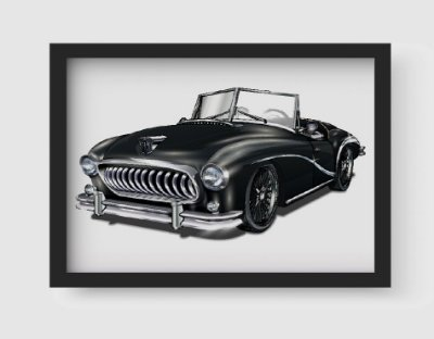 Quadro Decorativo Vintage Black Old Classic Car