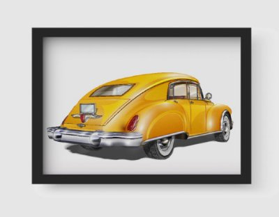 Quadro Decorativo Vintage Yellow Old Classic Car
