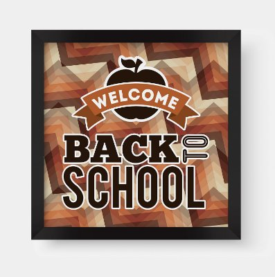 "Quadro Decorativo Retro Vintage Old School ""Welcome Back To School"""