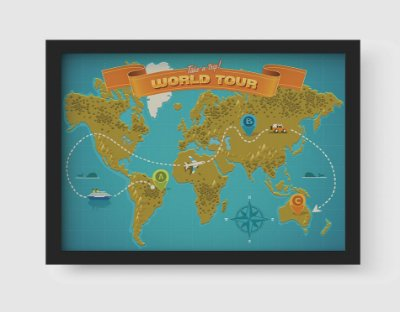 Quadro Decorativo Vintage Take a Trip World Tour Map