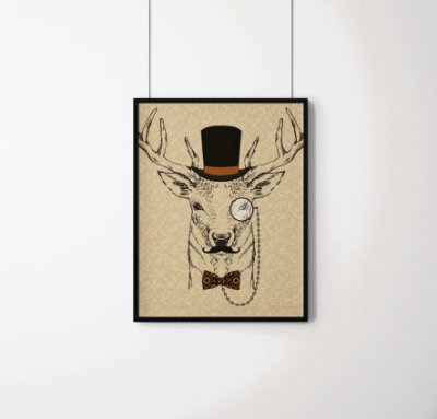 Quadro Decorativo Animais- Gentleman Hart.