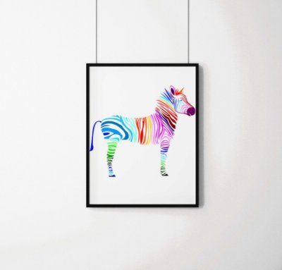 Quadro Decorativo Animais- Abstract colourful zebra.