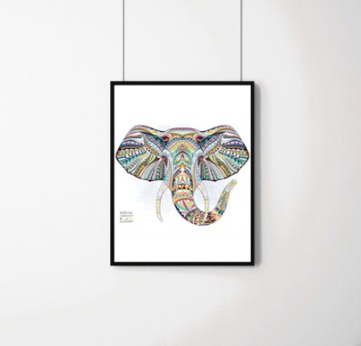 Quadro Decorativo Animais- Abstract Elephant.