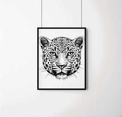 Quadro Decorativo Animais- Onça Pintada Brasileira em preto e branco.
