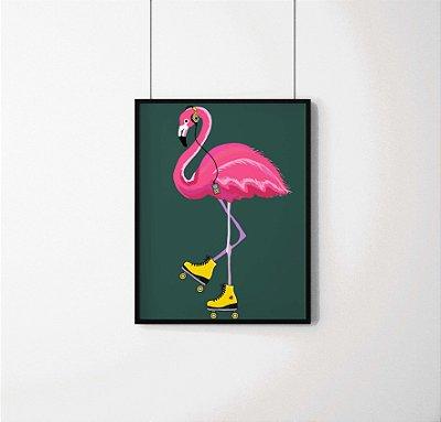 Quadro Decorativo Animais- Pink Dancing Flamingo.