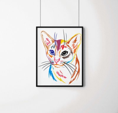 Quadro Decorativo Animais- Colourful Cat.