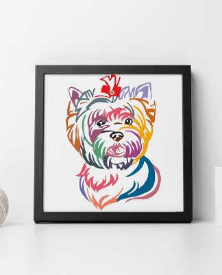Quadro Decorativo Animais- Colourful Yorkshire terrier.