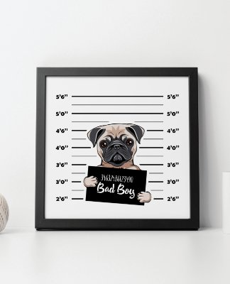 "Quadro Decorativo Animais- ""Bad Boy""."
