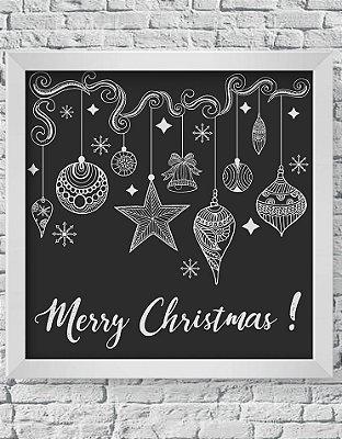 Quadro Decorativo Decoração de Natal Merry Christmas With Chalk Illustration