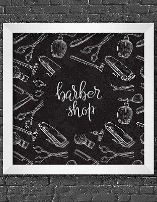 Quadro Decorativo Para Barbearia Chalk Barber Shop Itens