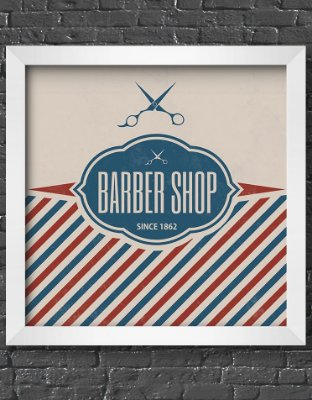Quadro Decorativo Para Barbearia Vintage Barber Shop Pole Theme