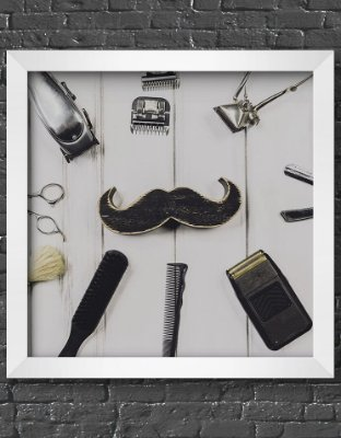 Quadro Decorativo Para Barbearia Moustache & Barbershop Equipment