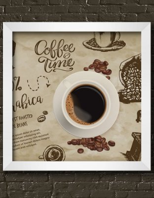 Quadro Decorativo Coffe Time Background With Drawings