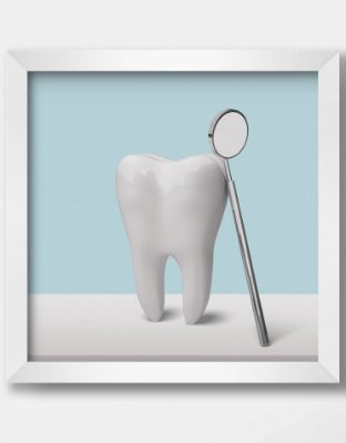 Quadro Decorativo Ortodôntico Tooth And Dentist Mirror
