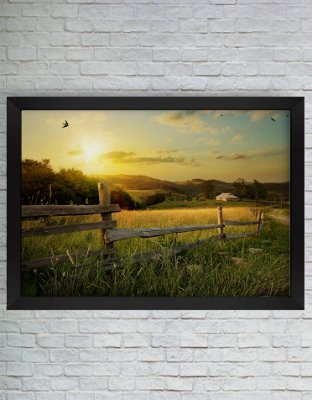 QUADRO DECORATIVO NATUREZA CAMPO POR DO SOL